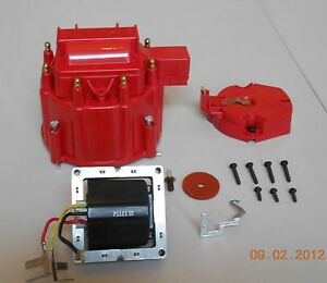 Red Hei Distributor Cap Coil Cover Rotor Kit And 65 000 Volt Coil Gm Chevy