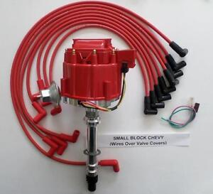 Small Block Chevy Red Hei Distributor 8mm Spark Plug Wires Over Valve Covers