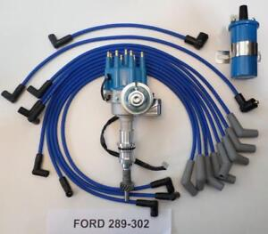 Small Block Ford 289 302 Blue Small Hei Distributor 45k Coil Spark Plug Wires