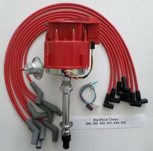 Big Block Chevy Red Super Cap Hei Distributor Spark Plug Wires 45 Degree Boots