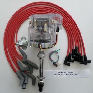 Big Block 396 427 496 Chevy Clear Cap Hei Distributor Red Plug Wires 45 Degree