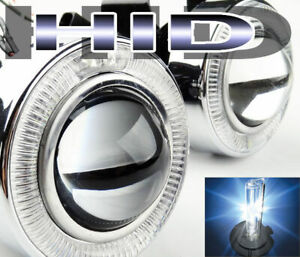 Universal White Halo Projector Fog Light Wiring W 6000k H11 Hid Kit Combo