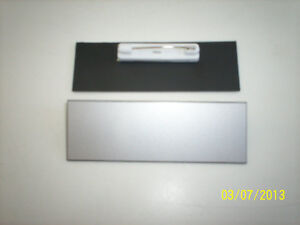 20 Silver black Blank Name Badges Tags 1x3 With Pins