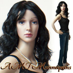 Female Mannequin base Head Arms Turn Durable Dress Form Manikin janice 2wigs