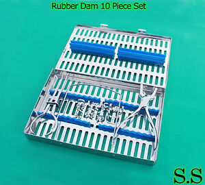 Rubber Dam 10 Pieces Set Up clamps ainsworth Forceps frame case Dn 536