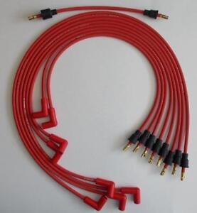 Small Block Chevy 327 350 400 Red 8mm Spark Plug Wires Under Exhaust Points Cap
