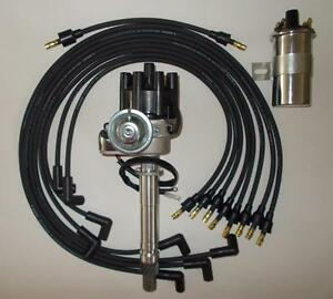 Chevy 350 Black Female Small Hei Distributor Wires Under Exhaust Chrome Coil