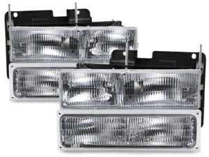 Headlights 4pc Truck Fits 94 95 96 97 98 99 Chevrolet Silverado Suburban