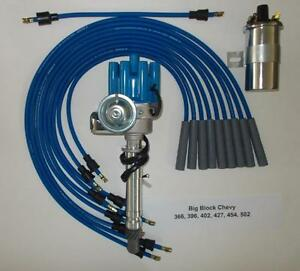 Chevy Big Block 396 454 Blue Small Female Hei Distributor 45k Coil Plug Wires
