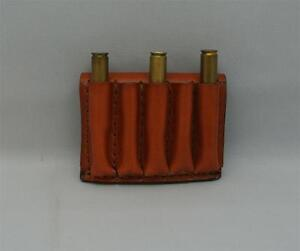 LEATHER RIFLE 5 CARTRIDGE CARRIER AMMO SLIDE FITS CAL 300  243  270 TAN