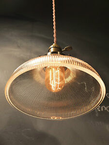Vintage Industrial Holophane Shaded Pendant Lamp Hanging Light W Ribbed Glass