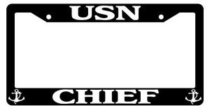 Black License Plate Frame United States Navy Chief Auto Accessory Novelty 206