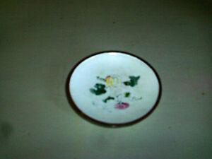 Antique Chinese Cloisonne Enamel Plate White Copper Famille Rose Marked