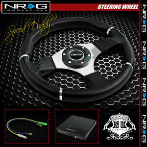 Universal Nrg Pvc Leather Aluminum 32cm Racing Steering Wheel Black silver Trim