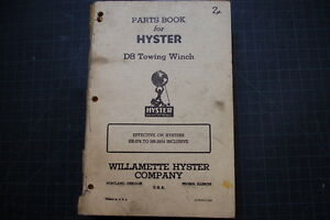 Hyster D8 Tractor Dozer Crawler Winch Parts Manual Maintenance Caterpillar Cat