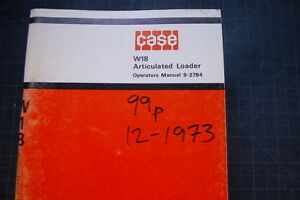 Case W18 Wheel Loader Operation Maintenance Manual Operator Book Pay 1973 Oem