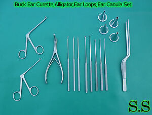 16 pcs Buck Ear Curette alligator ear Loops ear Canula Surgical Nasal Ent Inst