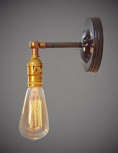 Industrial Swivel Sconce Machine Age Bare Bulb Lamp Without Shade