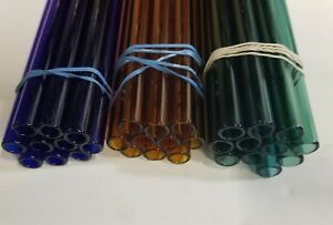 8 30 Piece Glass Pyrex 10mm Od 8mm Id Tubing 1mm Wall Blue Green Amber