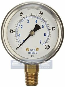 Liquid Filled Pressure Gauge 0 100 Psi 2 5 Face 1 4 Npt Lower Mount Wog