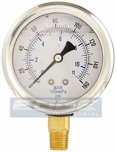 Liquid Filled Pressure Gauge 0 160 Psi 2 5 Face 1 4 Npt Lower Mount Wog