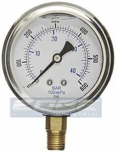 Liquid Filled Pressure Gauge 0 600 Psi 2 5 Face 1 4 Npt Lower Mount Wog