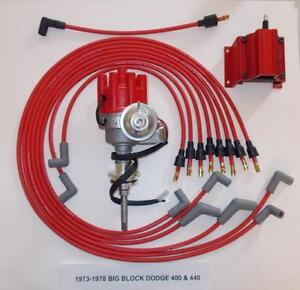 Dodge 440 1973 1978 Red Small Female Cap Hei Distributor Coil Spark Plug Wires