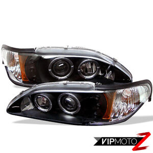 New Pair Lh Rh Dual Halo Black Projector Headlight Lamp Set 1994 98 Ford Mustang