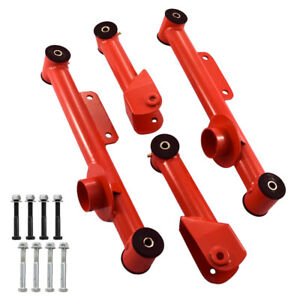 1979 2004 Mustang Red Upper Lower Rear Tubular Control Arms 4 Piece Kit