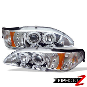 1994 1998 Ford Mustang Euro Projector 1pc Chrome Amber Headlight Signal Lamp Set