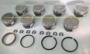 Speed Pro Trw Chevy 454 Forged 8cc Dish Coated Skirt Pistons Moly Rings 30