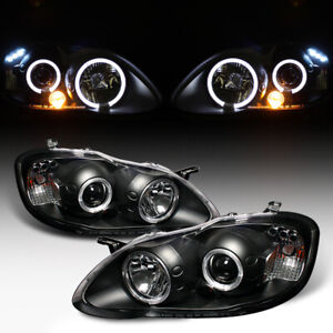 For 03 08 Toyota Corolla Black Halo Led Projector Head Light Lamp Left Right New