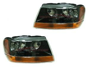 For 1999 2002 Jeep Grand Cherokee Laredo Head Lamps Driver Passenger Side