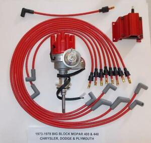 Mopar 440 1973 1978 Red Small Female Cap Hei Distributor Coil Spark Plug Wires