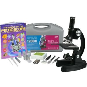 Amscope 48pc 120x 1200x Starter Compound Microscope Science Kit For Kids Book