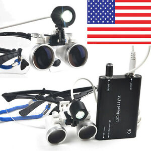 Dental Loupes 3 5x 420mm Surgical Binocular Optical Glass Led Head Light Lamp