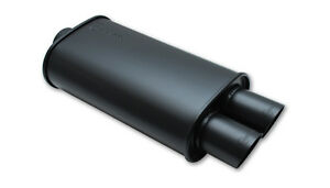 Vibrant Streetpower Flat Black Oval Muffler W Dual 3 Outlets 2 5 Inlet Id