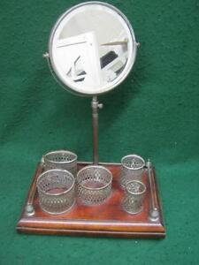 Vintage Adjustable Shaving Beveled Mirror Nickel Containers Stand 2654 13