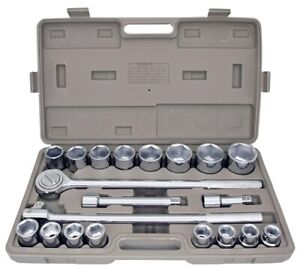 21pc Metric 3 4 Drive Socket Set W Storage Case Jumbo Ratchet Wrench Extension