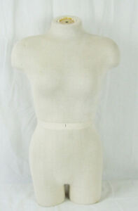 Female Torso Full Body Mannequin Hollow Cloth Covered Display Dress Form Ivory