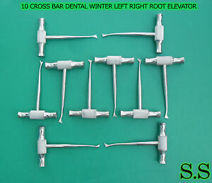 Set Of 10 Pc Cross Bar Dental Winter Left Right Root Elevator Extraction Kit