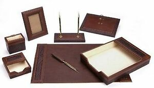 New Majestic Goods Office Supply Chocolate Leather Desk Set Brown w940