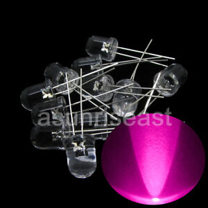 250 10mm Pink Round Led Light Lamp Water Clear Lens Long Legs Wholesale Diy