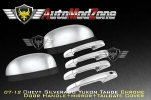 07 13 Chevy Suburban Tahoe Avalanche Chrome 4 Door Handle Upper Mirror Cover