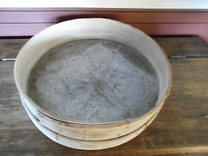 Large Early Antique Primitive Wood And Screen Sifter