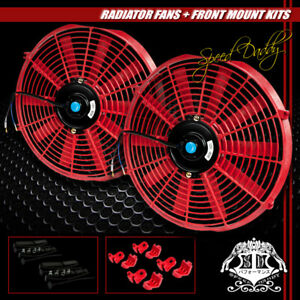 2x 14 Slim Pull Push 1730 Cfm 2250 Rpm Radiator Engine Cooling Fan Mount Kit Red