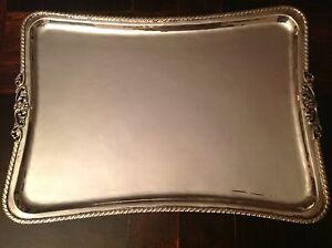 European Vintage Silver Tray In Very Good Condition 800 Hallmark 712 Grams