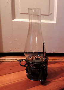 Antique English Silverplate Candlestick Chamberstick Hurricane Lantern 19th C