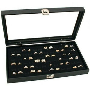 New Black 72 Rings Jewelry Travel Showcase Display Glass Top Lid Case