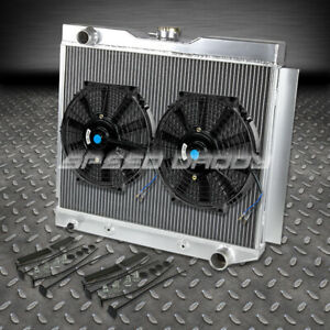 3 row Full Aluminum Radiator 2 Slim Fan 49 54 Chevy sbc Corvette V8 Conversion